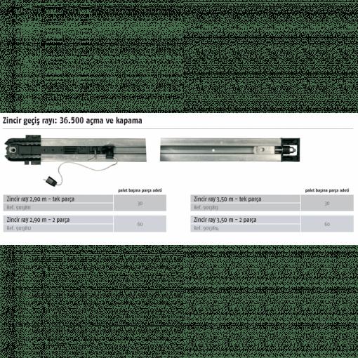Somfy Seksiyonel Kapı Motoru Rayı – Zincirli Ray 3,50 Mt, Tek Parça